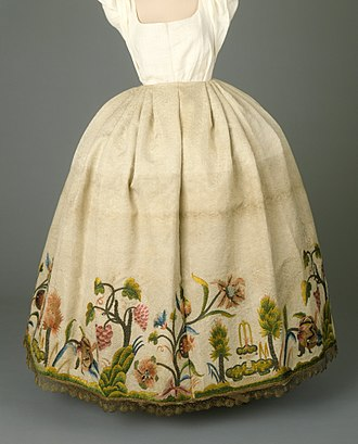 Petticoat - Silk embroidery on petticoat from Portugal, circa 1760.