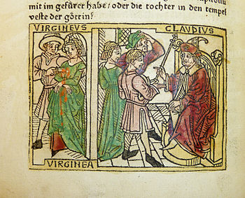 Woodcut illustration of Verginia's trial before Appius Claudius and her death at the hand of her father Verginius - Penn Provenance Project