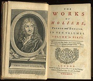 Molière - First volume of a 1739 translation into English of all of Molière's plays, printed by John Watts.