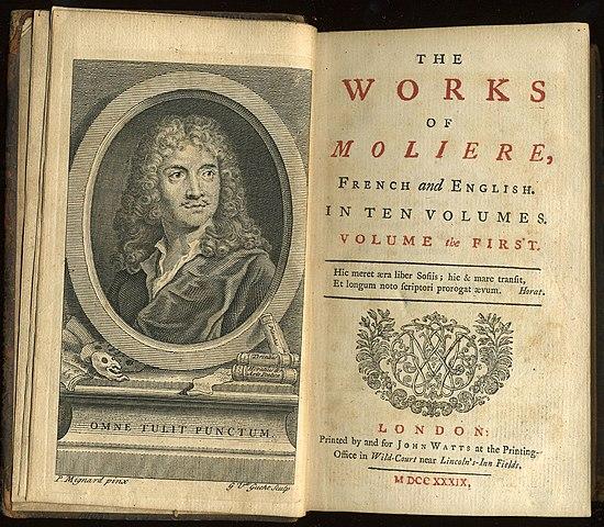 Первый том английского перевода всех пьес Мольера, изданный Джоном Уотсом в 1739