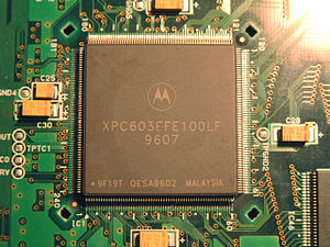 PowerPC 600 - A 100 MHz Motorola PowerPC 603 in a wire bond Quad Flat Package.