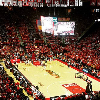 Maryland Terrapins men's basketball - Xfinity Center interior during a January 2015 game against the Michigan State Spartans.