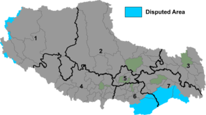 Border Personnel Meeting point - Map of Tibet Autonomous Region with disputed areas shown in blue