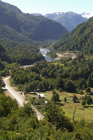 Cisnes River - From a lookout point at the Carretera Austral, which is also visible in the photo