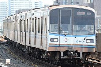 Yokohama Municipal Subway Blue Line - A 3000R series train on the Blue Line in July 2015