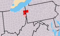 Map of metro area (MSA in red, CSA in pink)