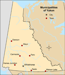 Map showing locations of all municipalities of Yukon