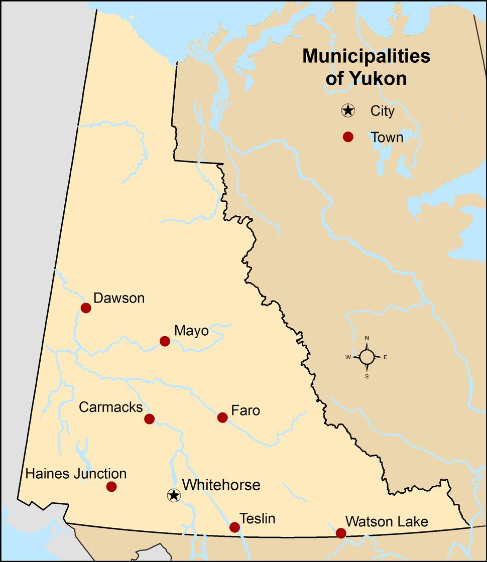 Map showing locations of all municipalities of Yukon