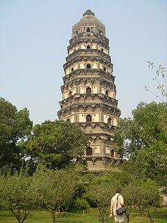 Tiger Hill Pagoda pagoda in Suzhou city, Jiangsu Province, China