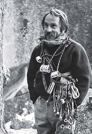 Yvon Chouinard - Yvon Chouinard with equipment for rock climbing, including Hexentrics.  Photo by Tom Frost.