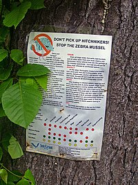 Sign advising boaters on how to prevent zebra mussel spread on Titicus Reservoir in North Salem, New York.