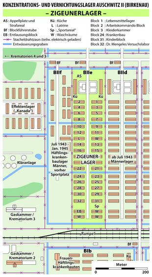 Mappa del campo di concentramento di Auschwitz