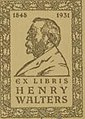 """EX LIBRIS"" ""HENRY WALTERS"" bookplate detail, Anonymous - Binding from Five Poems (Quintet) - Walters W613binding - Top Interior (cropped).jpg"
