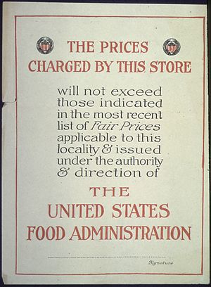 "United States Food Administration - Image: ""Prices charged in this store will not exceed those indicated in the most recent list of Fair Prices applicable to this NARA 512556"