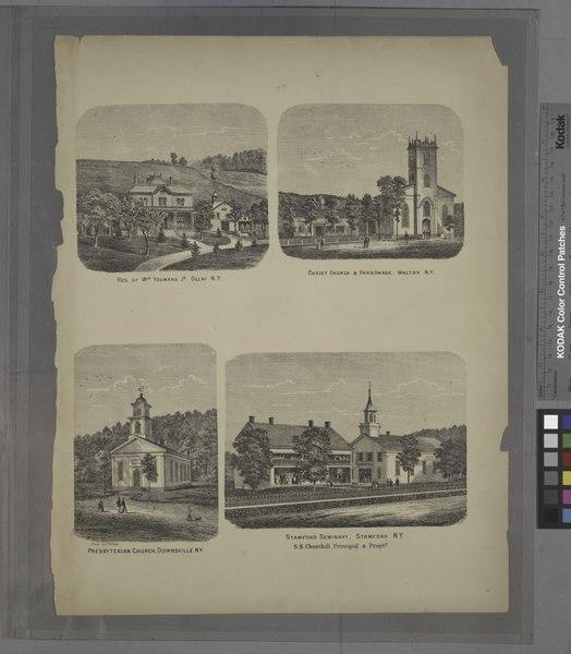 "File:""Res. of Wm. Youmans Jr. Delhi N.Y.; Christ Church and Parsonage, Walton N.Y.; Presbyterian Church, Downsville N.Y.; Stamford Seminary, Stamford N.Y. S.E. Churchhill, Principal and Proptr."" NYPL1582973.tiff"