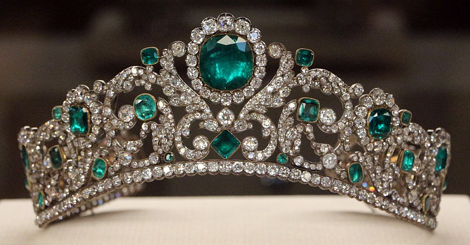 Évrard e frédéric bapst, diadema della duchessa d'anguoleme, smeraldi, diamanti, oro e argento, parigi 1819-20