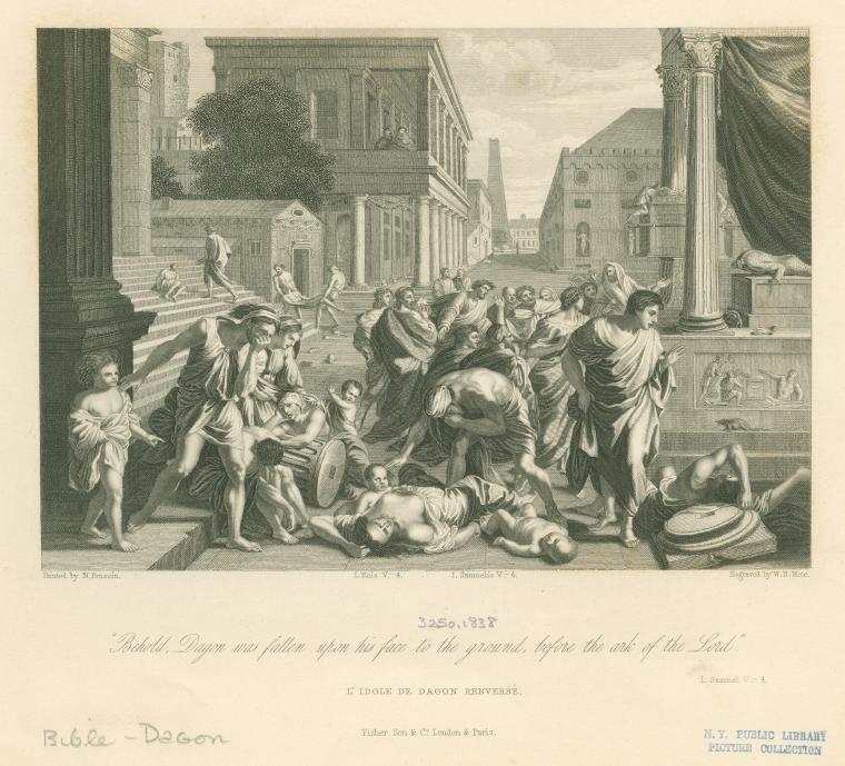 דגון נופל ארצה תחריט 1838 NYPL