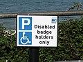 -2018-09-06 Disabled parking sign, East Cliff car park, Sheringham.JPG