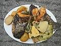 0099Nilagang repolyo, petsay Tagalog, kamote, patatas, kamatis at Pritong Dalag (Bulig) sa tanglad 03.jpg