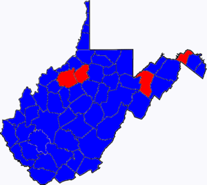 United States Senate election in West Virginia, 2002 - Image: 02WVSenate Counties