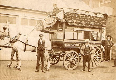 Tilling horse bus in use. 10 granddad Houghton in boater, date unknown (cropped).jpg