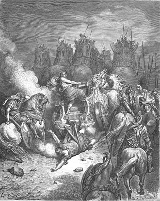 Antiochus IV Epiphanes - Punishment of Antiochus, engraving by Gustave Doré