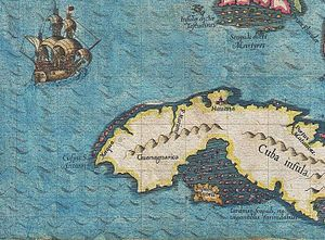 Blockade of Western Cuba - Image: 1591 De Bry and Le Moyne Map of Florida and Cuba 1591