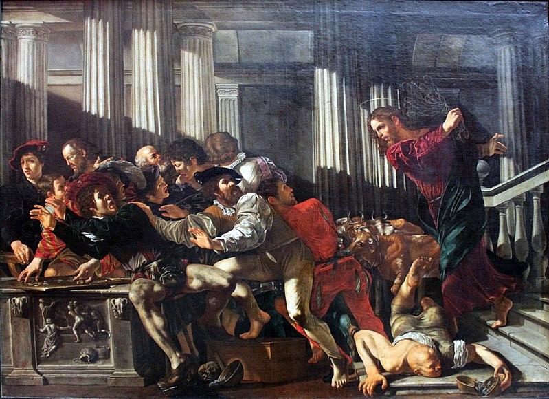 File:1610 Cecco del Caravaggio Christ expulses money changers anagoria.JPG