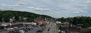 Hancock, Maryland - Central Hancock and Maryland Route 144 (Main Street) as seen from the U.S. Route 522 bridge.