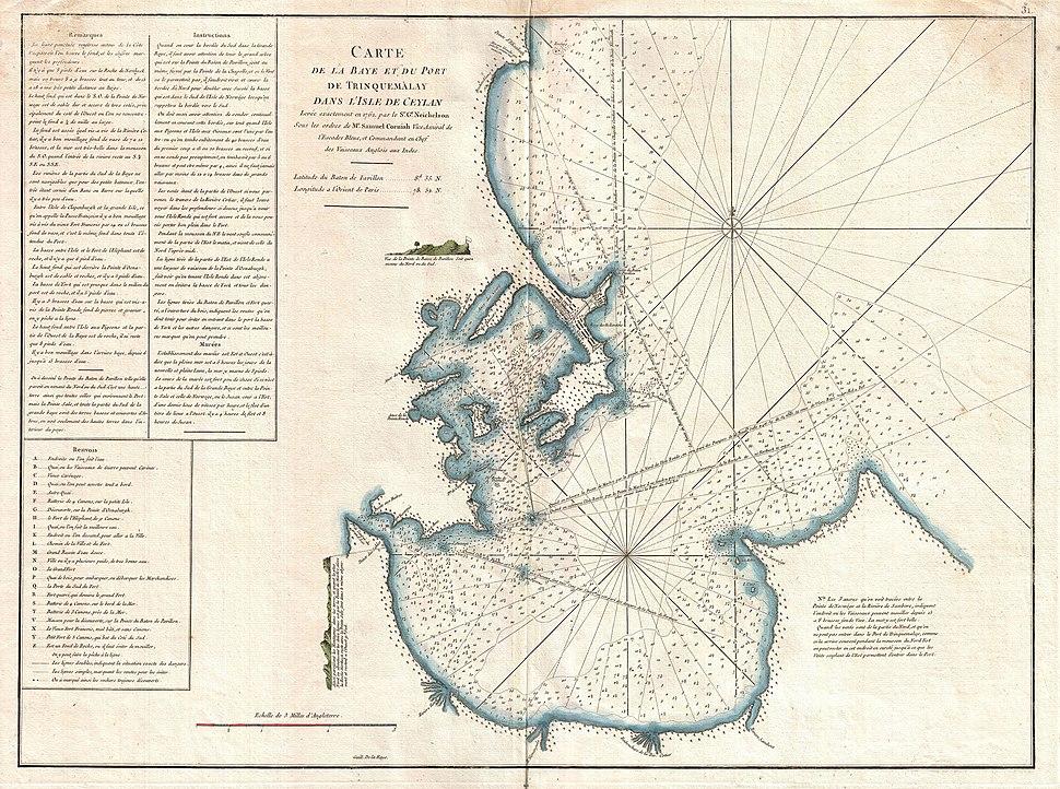 1775 Mannevillette Map of Trincomalee, Ceylon or Sri Lanka - Geographicus - TrinquemalayCeylon-mannevillette-1775