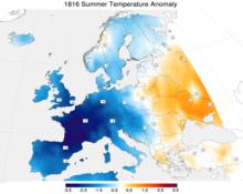 Vergleich der Temperaturen 1816 zum langjährigen Mittel 1971–2000 (Quelle: Wikimedia)