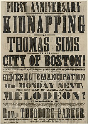 Thomas Sims - Broadside announcing the first anniversary of Thomas Sims' kidnapping in Boston