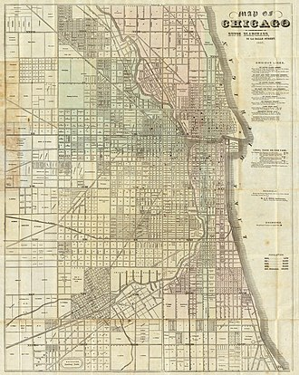City block - Chicago in 1857. Blocks of 80, 40, and 10 acres establish a street grid at the outskirts which continues into the more finely divided downtown area.