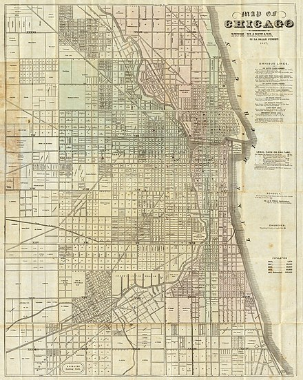 Chicago in 1857. Blocks of 80, 40, and 10 acres establish a street grid at the outskirts which continues into the more finely divided downtown area. 1857 Blanchard's map of Chicago.jpg