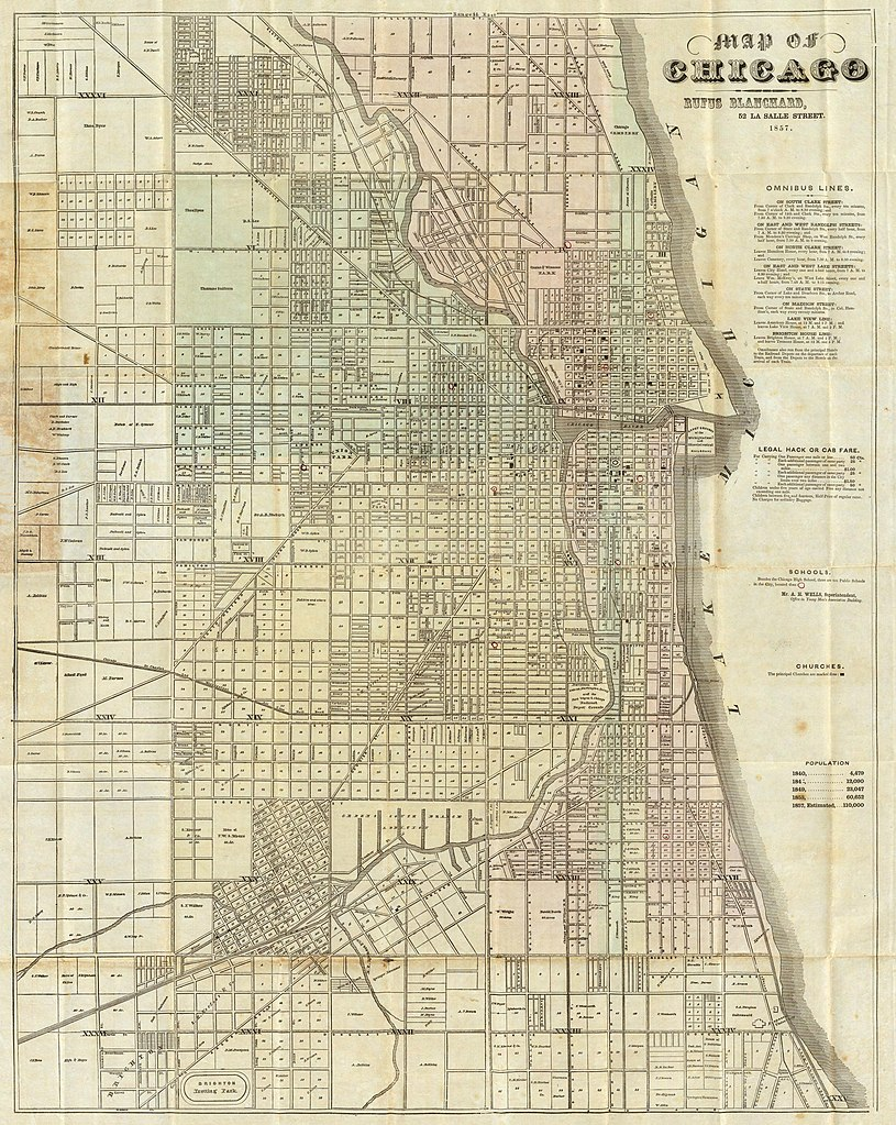 O Block Chicago Map.File 1857 Blanchard S Map Of Chicago Jpg Wikimedia Commons
