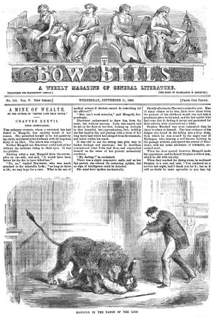 """John Dicks (publisher) - Bow Bells, 1866 (with illustration of """"Mangold in the fangs of the lion"""")"""