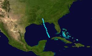 1881 Atlantic hurricane season - Image: 1881 Atlantic tropical storm 1 track