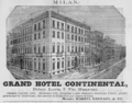 1885 Hotel Continental Milan ad Harpers Handbook for Travellers in Europe.png