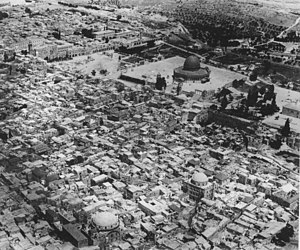 Jewish Quarter (Jerusalem) - Jewish quarter in the early 20th century: The two large domes in the foreground are the Hurva Synagogue and the Tiferes Yisrael Synagogue, destroyed  in 1948.