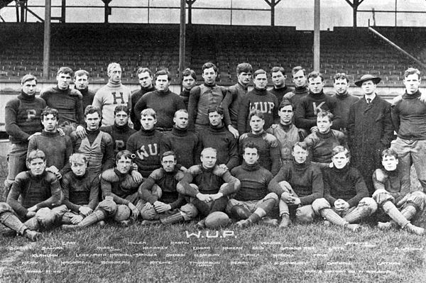 The 1905 football team was Arthur Mosse's last season as head coach in Pittsburgh. This team would go 10-2 while outscoring its opponents 405-36. Joseph H. Thompson, center of the front row, was the team captain. 1905PittFootball.jpg