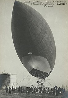 An airship is seen from below; mooring ropes are visible around the gondola; an airship's pointed bow looms at top left over the camera position, a slim, elegant, streamlined airship envelope recedes towards bottom right