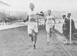 Athletics at the 1908 Summer Olympics – Men's 1500 metres - Mel Sheppard winning the final.