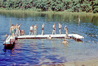 Scouting in Illinois - Camp Bass Lake swim area - 1959 - Troop 664