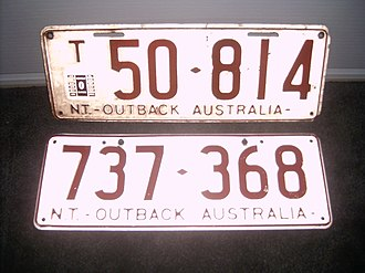 Vehicle registration plates of the Northern Territory - NT – Outback Australia. T indicates trailer