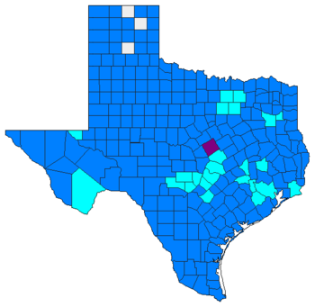 Election results by county dodger blue denotes counties won by