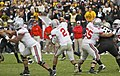 20091017 Terrelle Pryor passes while Justin Boren blocks.jpg
