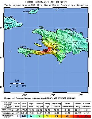 Ouest (department) - Shake map of 2010 Haiti earthquake