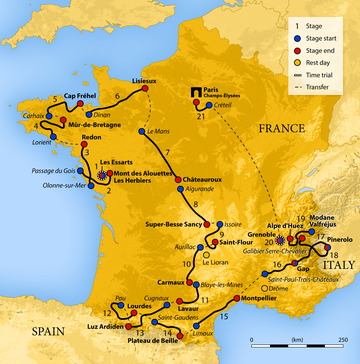 Map of France showing the showing the path of the race.