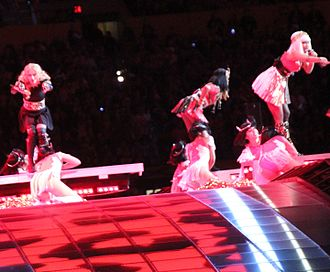 Give Me All Your Luvin' - Madonna performing the song with M.I.A. and Nicki Minaj (in front) during the Super Bowl XLVI halftime show.