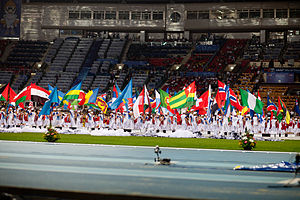 Parade - 2013 World Championships in Athletics parade of nations at the Luzhniki Stadium in Moscow, Russia.